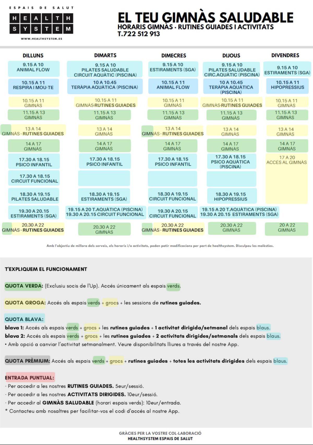 horaris gimnàs healthsystem